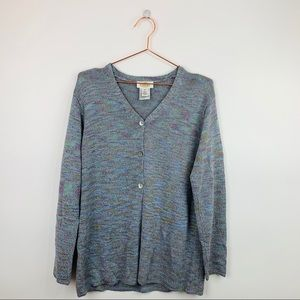 Talbots Heather Marled Button Down Sweater